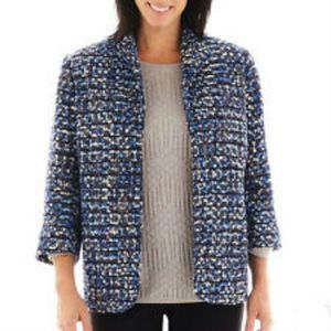 Alfred Dunner Blue Tweed The Windy City Jacket 18